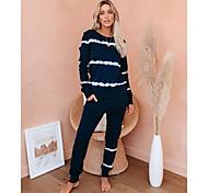 abordables -Femme basique Teinture par Nouage Ensemble deux pièces Sweat-shirt Survêtement Pantalon Vêtements d'intérieur Hauts