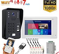 economico -mountainone sy703wmjlp11 7 pollici wifi videocitofono senza fili campanello citofono sistema con impronta digitale cablata rfid ahd supporto del sistema di controllo accessi porta 1080p app remoto