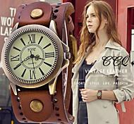 abordables -bracelet en cuir vintage montre-bracelet à bande large montre à quartz pour homme - marron