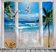 abordables -fenêtre paysage mur tapisserie art décor couverture rideau pique-nique nappe suspendu maison chambre salon dortoir décoration polyester mer océan plage palm pier animal