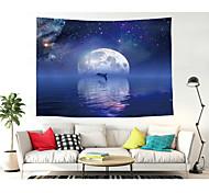 abordables -tapisserie murale art décor couverture rideau pique-nique nappe suspendu maison chambre salon dortoir décoration polyester lune et dauphins sous les étoiles