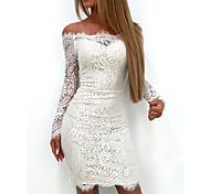 economico -Per donna Tubino Mini abito corto Bianco Manica lunga Tinta unica Pizzo Collage Autunno Senza spalline caldo Elegante 2021 S M L XL