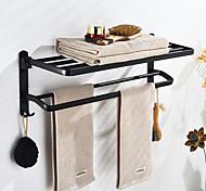 abordables -porte-serviettes multifonction nouveau design étagère de salle de bain en aluminium moderne mural noir mat 1pc