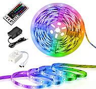 abordables -ZDM® 5m Bande lumineuse LED Ruban LED Ensemble de Luminaires Barrette d'Eclairage RGB 300 LED 2835 SMD 8mm 1 44Keys Télécommande 1 câbles DC 1 câble CA 1 set RGB Imperméable Découpable Soirée 12 V  IP