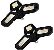 abordables -2pcs LED lumière de garage LED plafonnier déformable à trois feuilles pour atelier d'entrepôt à domicile 360 degrés lampe de déformation pliante panneaux multi-positions réglables AC85-265V