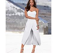 abordables -Combinaison-pantalon Femme Brodée Couleur Pleine basique Blanche Noir Bleu S M L XL XXL
