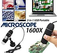 economico -Lente d'ingrandimento da 8 led con fotocamera per microscopio digitale USB 1600x con supporto in plastica