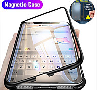 abordables -téléphone Coque Pour Apple Coque Intégrale Adsorption Magnétique iPhone 12 Pro Max 11 SE 2020 X XR XS Max 8 7 6 Antichoc Clapet Transparente Transparente Dur Verre Trempé Métal