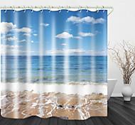 abordables -Rideau de douche en tissu imperméable à l'eau de plage vue sur la mer pour salle de bain décor à la maison rideaux de baignoire couverts doublure comprend avec crochets