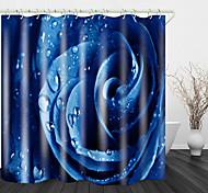 abordables -rose bleue avec des gouttes d'eau beau rideau de douche en tissu imperméable imprimé au dos pour salle de bain décor à la maison rideaux de baignoire couverts doublure comprend avec crochets