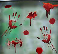 abordables -Horreur sang empreinte de main halloween stickers muraux stickers muraux décoratifs, pvc décoration de la maison sticker mural décoration murale / amovible 45 * 30 cm