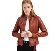 economico -Per donna Tinta unita Borchie Essenziale Autunno Giacche di pelle Corto Quotidiano Manica lunga PU (Poliuretano) Cappotto Top Rosa