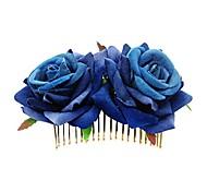 economico -pettine floreale per capelli da donna 2 xrose flower pettine per capelli (# rosa e viola)