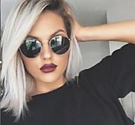 abordables -Perruque Synthétique Droit crépu Partie médiane Perruque Court Argent Cheveux Synthétiques Femme Design à la mode Cheveux Colorés Exquis Argent