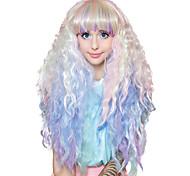 abordables -Perruques de Déguisement Crimped Pastel Rainbow Ombre Cosplay Bouclé Coupe Asymétrique Perruque Très long Arc-en-ciel Cheveux Synthétiques Femme Animé Cosplay Exquis Couleur mixte