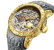 abordables -les nouvelles montres de mode hommes 3d gravé dragon quartz montres grand cadran sport décontracté montre étanche homme (or 1)