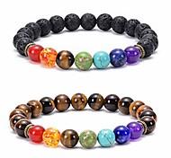 abordables -Bracelet chakra de pierre de lave 8mm bracelet oeil de tigre soulagement du stress perles de yoga bracelet de guérison de l'anxiété aromathérapie diffuseur d'huile essentielle bracelet bracelet