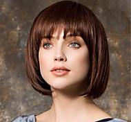 abordables -perruque mode femme cheveux courts brun tête bobo court cheveux raides frange perruque coiffures 14 pouces