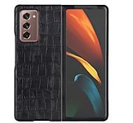 economico -telefono Custodia Per Samsung Galaxy Integrale Custodia in pelle Custodia flip Galaxy Z Fold 2 Resistente agli urti Con chiusura magnetica Tinta unica vera pelle
