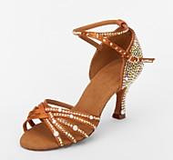 abordables -Femme Chaussures Latines Salon Danse en ligne Sandale Strass Talon Bobine Marron Boucle / Daim