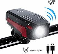 abordables -lumière de vélo, klaxon de vélo fort, phare de vélo super lumineux étanche, 130 db, 5 sons de klaxon, 5 modes d'éclairage, batterie rechargeable usb 2000 mah (mise à niveau 2018) (lampe de vélo +