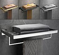 abordables -porte-serviettes double brossé en acier inoxydable porte-serviettes de salle de bain étagère support mural de style contemporain utilisation pour salle de bain / cuisine / salon 30/40/50/60 cm