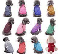 economico -Prodotti per cani Prodotti per gatti Maglioni Tinta unita Casual Stile semplice Inverno Abbigliamento per cani Vestiti del cucciolo Abiti per cani Bronzo Viola Rosso Costume per ragazza e ragazzo cane