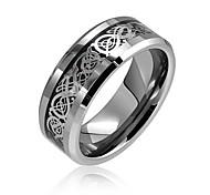 economico -due toni nero argento nodo celtico drago intarsio coppie fedi nuziali in titanio per uomo per donna comfort fit 8mm