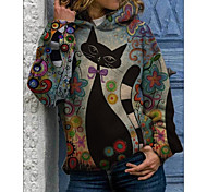 abordables -Femme Sweat-shirt à capuche Bande dessinée Chat Quotidien Autres imprimés basique Pulls Capuche Pulls molletonnés Violet Orange Gris