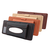 abordables -Deranfu véritable cuir voiture visière porte-mouchoirs avec support cd multi-fonctionnel cd organisateur visière boîte à mouchoirs sac fente pour carte pour voiture& camion 3 en 1 grain de