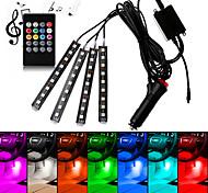 abordables -voiture rgb led bande intérieure lumière 4pcs couleurs style de voiture lumière décorative musique contrôle du son plusieurs lampes d'ambiance d'éclairage intérieur avec tableau de bord à distance lam