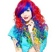 abordables -Perruques de Déguisement Curly Rainbow Cosplay Bouclé Coupe Asymétrique Avec Frange Perruque Très long Arc-en-ciel Cheveux Synthétiques Femme Animé Cosplay Exquis Couleur mixte