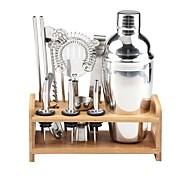 economico -miscelatore per cocktail shaker isolato kit barista mixer shaker per cocktail in acciaio inox 550ml set di strumenti bar con elegante supporto in bambù kit bartending domestico perfetto e set shaker