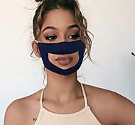 abordables -masque de langage des lèvres masque transparent anti-buée décontracté quotidien polyester anti-poussière respirant masque imprimé sourd et muet couleur unie