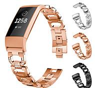 economico -Cinturino intelligente per Fitbit 1 pcs Cinturino sportivo Acciaio inossidabile Sostituzione Custodia con cinturino a strappo per Fitbit Charge 3 Carica Fitbit 4