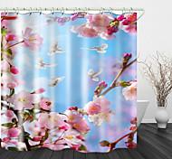 abordables -Rideau de douche en tissu imperméable imprimé fleur de pêche pour salle de bain Décor à la maison Rideaux de baignoire couverts La doublure comprend avec des crochets
