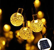 abordables -guirlandes solaires 50 leds 10m lumières de patio solaires avec 8 modes lumières de chaîne de boule de cristal imperméables pour les décorations de jardin de mariage de fête de pelouse de patio