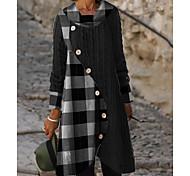 abordables -Femme Robe Pull Robe Longueur Genou Gris Manches Longues Bloc de Couleur Bouton Automne Printemps Col Rond chaud Simple robes de vacances 2021 M L XL XXL 3XL