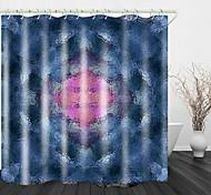 abordables -Rideau de douche en tissu imperméable à imprimé de verre flou pour salle de bain décor à la maison rideaux de baignoire couverts doublure comprend avec crochets