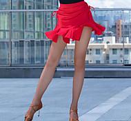 abordables -Femme Danseuse latine Danse Costume de Soirée Volants Spandex Noir Rouge Jupes