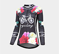 abordables -Malciklo Femme Manches Longues Maillot Velo Cyclisme Hiver Noir / Rouge Fleurs tropicales Vélo Chaud Respirable Des sports Graphique VTT Vélo tout terrain Vélo Route Vêtement Tenue / Micro-élastique