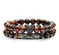 abordables -8mm oeil de tigre perles de pierre bracelet élastique bracelet de yoga en pierre naturelle pour femmes hommes