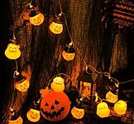 abordables -halloween guirlande lumineuse 3m 20leds décoration de vacances chapeau de citrouille guirlande lumineuse halloween guirlande lumineuse à piles fantôme lanterne festival led guirlande lumineuse