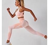 economico -Per donna 2 pezzi Tuta da yoga Estate Senza cuciture Imbottitura removibile Senza fili Nero Rosa Nylon Fitness Allenamento in palestra Corsa Vita alta Leggings corti Buon top Sport Abbigliamento