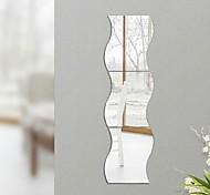 economico -3 pezzi fai da te a forma di onda acrilico effetto specchio adesivo adesivo da parete adesivi murali superficie specchio decorazione della casa lato 30 x 23,5 cm