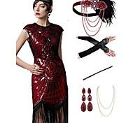 economico -Il grande Gatsby 1920s Vintage ▾ vestito da vacanza Vestito del flapper Completi Stile Carnevale di Venezia Abito da ballo Per donna Nappa Costume Rosso + nero / Red + Golden / Corallo Rosso Vintage ▾
