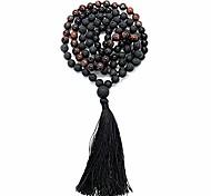 abordables -Collier mala 108 perles& bracelet avec pompon 8 mm perles de pierre - collier de 108 perles pour la pleine conscience& yoga (oeil de tigre rouge + pierre de lave)