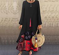 abordables -Femme Robe Évasée Robe longue maxi Noir Orange Manches Longues Imprimé Patchwork Automne Eté Col Rond chaud Simple robes de vacances 2021 M L XL XXL 3XL 4XL 5XL / Grandes Tailles