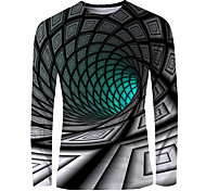 abordables -Homme T-shirt Impression 3D Graphique 3D Print Imprimé Manches Longues Quotidien Hauts basique Elégant Vert