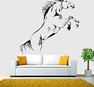 abordables -Noir cheval au galop sticker mural vinyle cheval sautant papier peint art mural décoration de la maison 90 * 60 cm